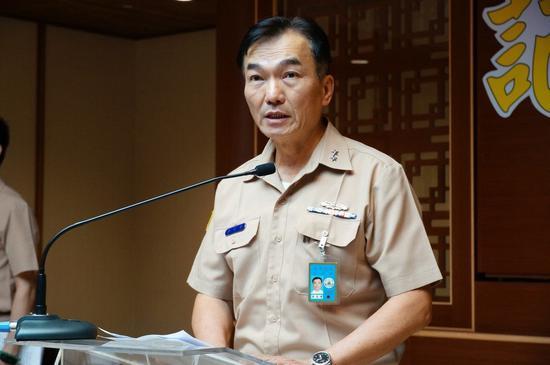 海军舰队指挥部中将指挥官李宗孝出面说明。记者林伯骅/摄影