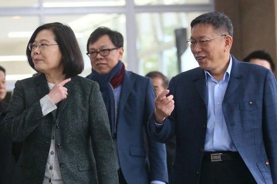 蔡英文(左)与台北市长柯文哲(右)。图/联合报系资料照