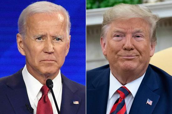 美国总统川普(右)与前副总统拜登(左)法新社