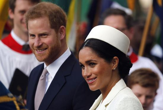 哈利王子與王妃梅根。 美聯社資料照