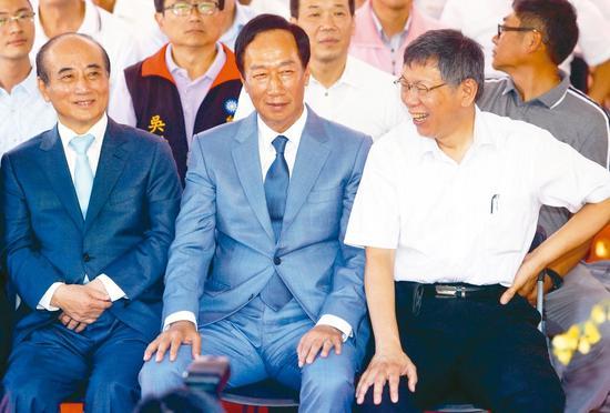 鸿海创办人郭台铭、台北市长柯文哲与前立法院长王金平日前合体。本报资料照片 图/联合报系资料照片