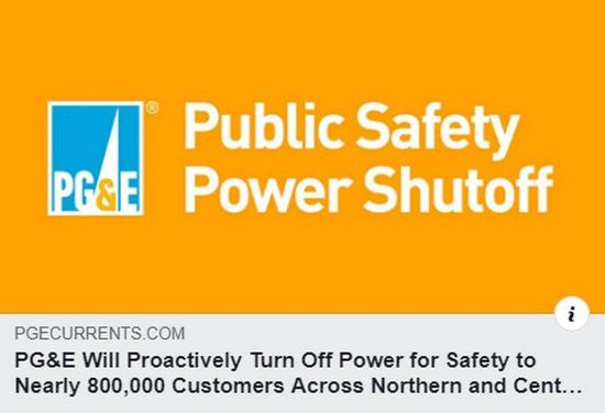 太平洋煤氣電力公司在臉書宣佈停電訊息。 圖擷自Pacific Gas and Electric Company
