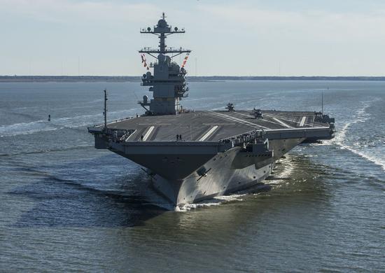 美国海军最贵的航空母舰「福特号」。图为福特号资料照片。美联社