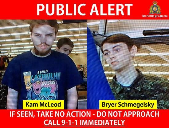 因謀殺三人而被通緝的加拿大青少年麥克勞(左)和施梅吉斯基(右),被發現陳屍曼尼托巴省吉蘭鎮附近。路透