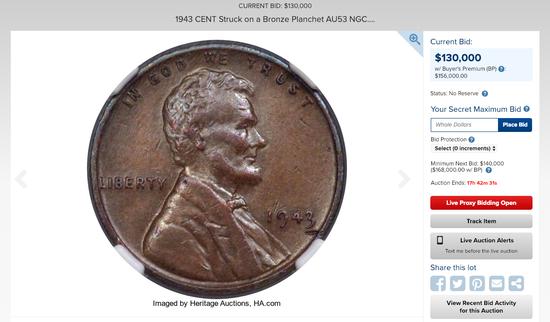 1943年美国铸币厂的错误,让当时流入市面的几枚美分铜币,成为现今人们眼中的珍宝...