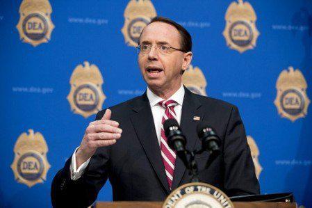 美國司法部副部長羅森斯坦(Rod Rosenstein)。 美聯社