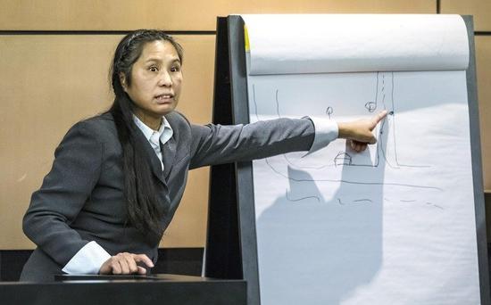 去年12月硬闯川普总统的佛罗里达州海湖庄园的中国籍女子陆静出庭。 TNS