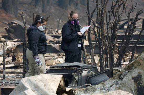 美国北加州野火蔓延逾一周。 路透社