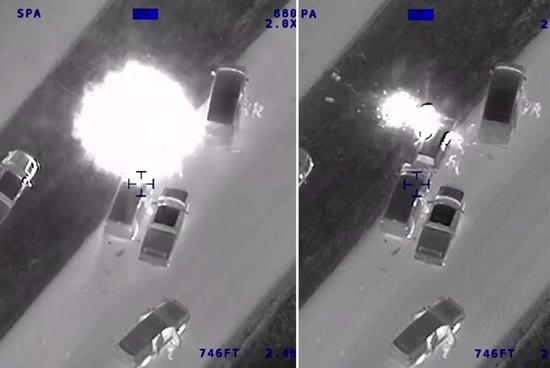 图说:德州警方在8月31日公布3月的连环炸弹客,遭警察追捕逃跑无望后,引爆炸弹身亡的画面。图片撷取德州公共安全局影片