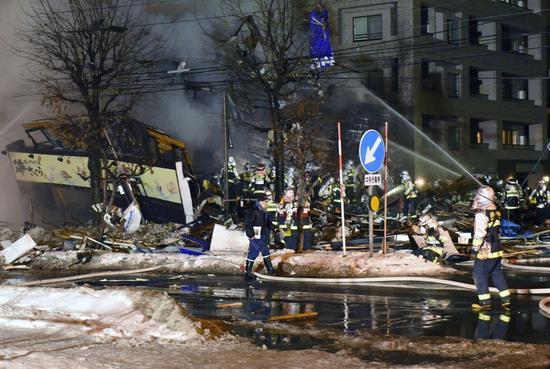 札幌居酒屋爆炸現場。(歐新社)