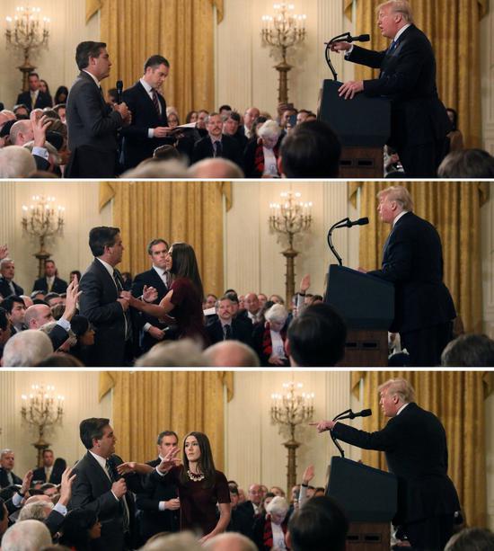 美国总统川普在期中选举落幕后的记者会中,与CNN记者阿科斯达(Jim Acosta)激烈交锋。 路透社
