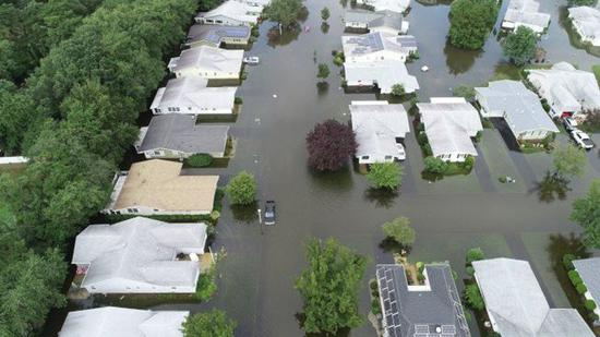 新泽西州暴雨不断,部分地区受灾严重。(布里克市警方提供)