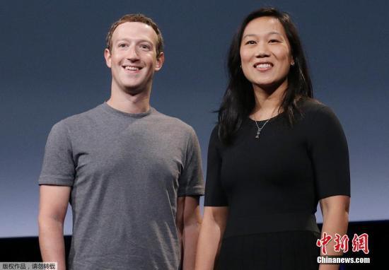 """圖爲社交媒體""""臉書""""公司CEO扎克伯格及其妻子普里西拉·陳。"""