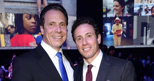 主播克里斯古莫(右)與紐約州長安德魯古莫(左)兄弟連線採訪中竟鬥嘴。