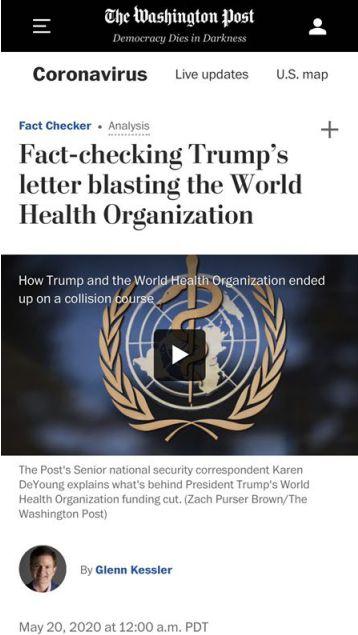 △《華盛頓郵報》報道,證據表明川普對世衛組織的指控是站不住腳的