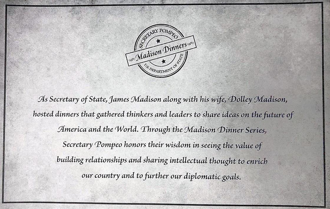 """△蓬佩奧版""""麥迪遜晚宴""""的邀請函(圖片來源:NBC)"""