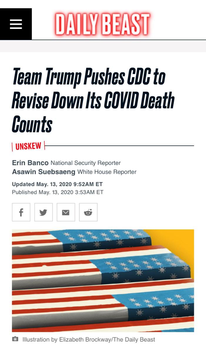 △《每日野獸》記者報道川普政府正在施壓CDC,令其降低新冠病毒導致的死亡人數