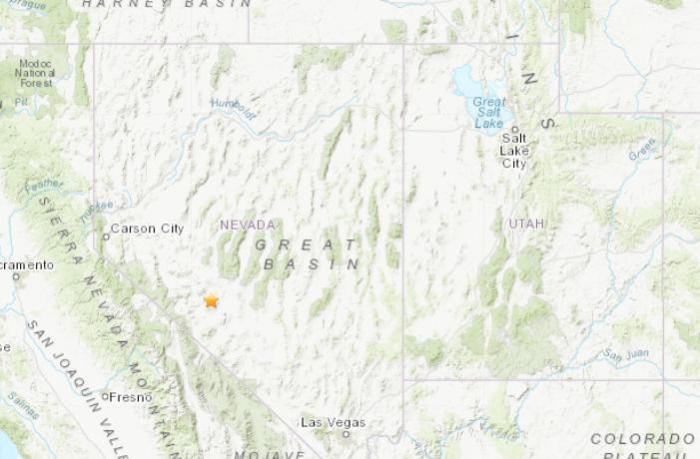 美國內華達州發生5.0級地震。(圖片來源:美國地質勘探局網站截圖)