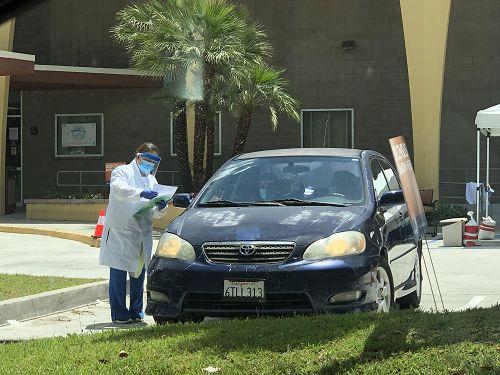 西柯汶納市新冠病毒檢測站。(鮑佳琪/攝影)